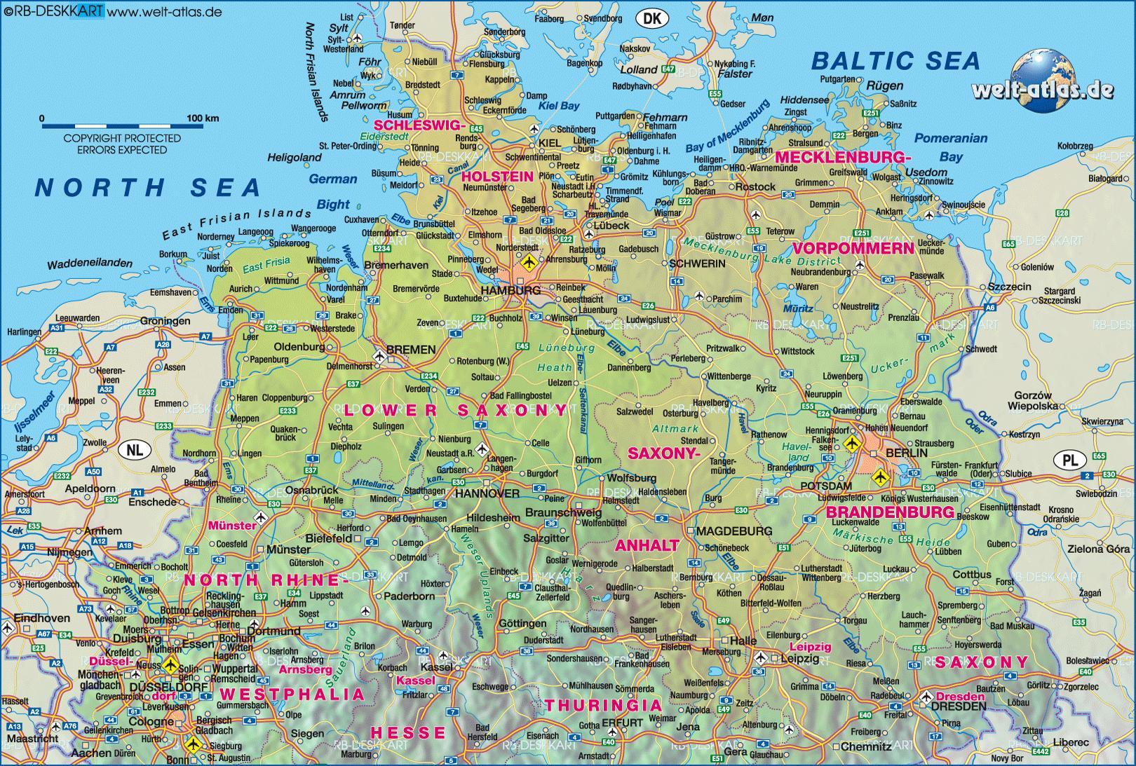 kart over middelhavslandene Nord Tyskland kart   Kart over nord Tyskland (Vest Europa   Europa) kart over middelhavslandene