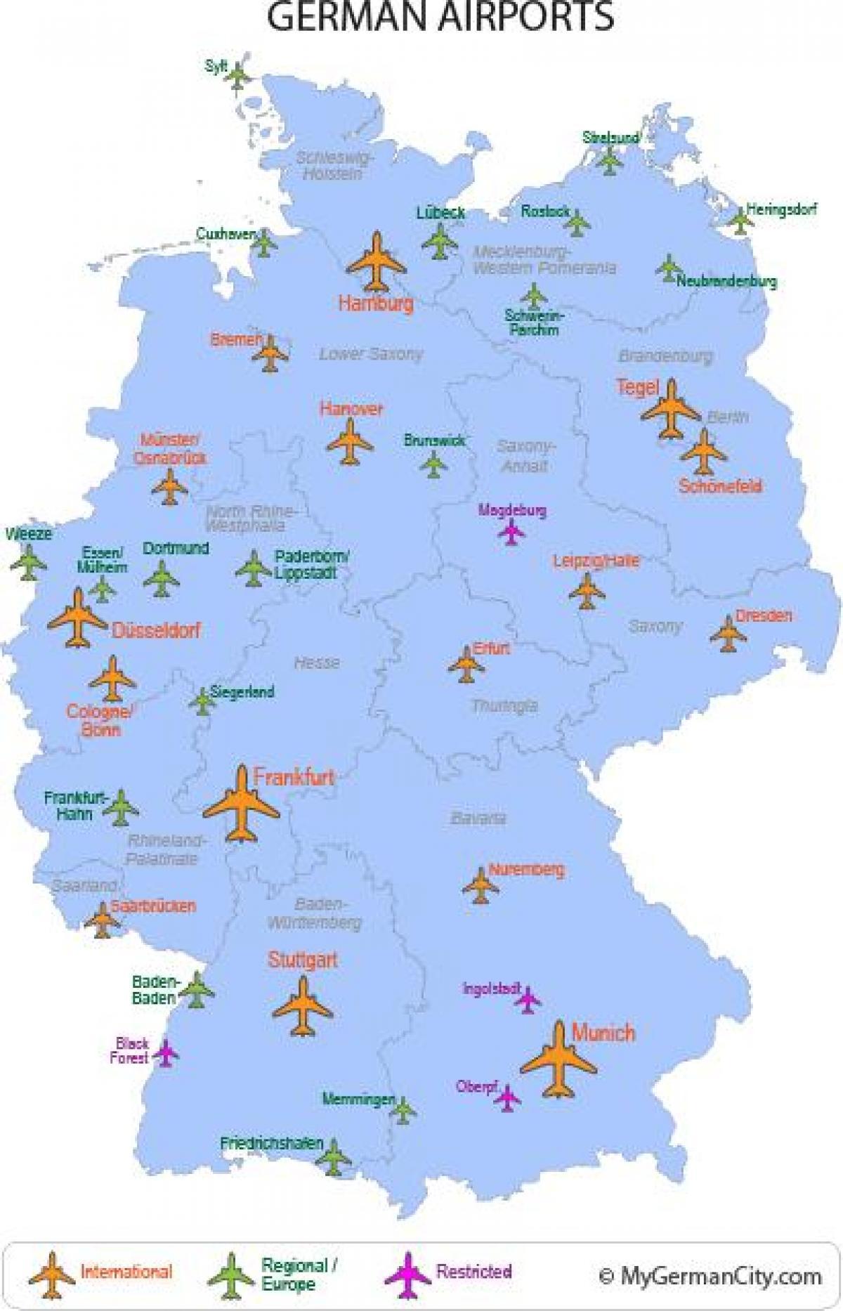 kart over flyplasser i tyskland Internasjonale flyplasser i Tyskland kart   Store flyplasser i  kart over flyplasser i tyskland