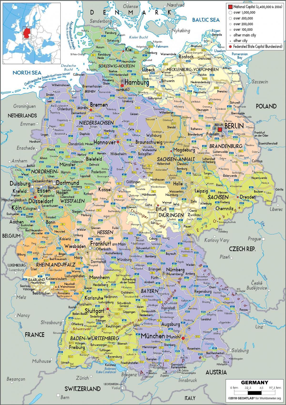 tyskland kart Tyskland, politisk kart   Kart o Tyskland politiske (Vest Europa  tyskland kart