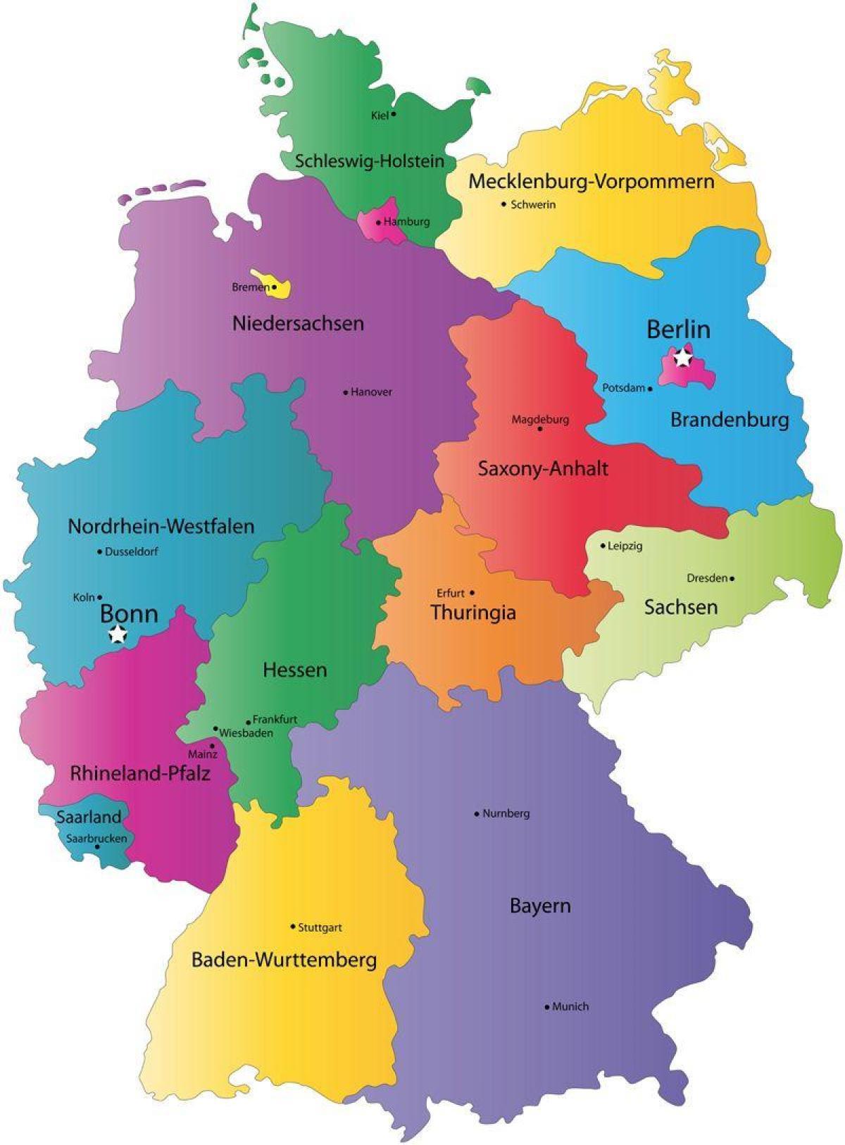 vest europa kart Tyskland staten kart   Kart over Tyskland state (Vest Europa   Europa) vest europa kart