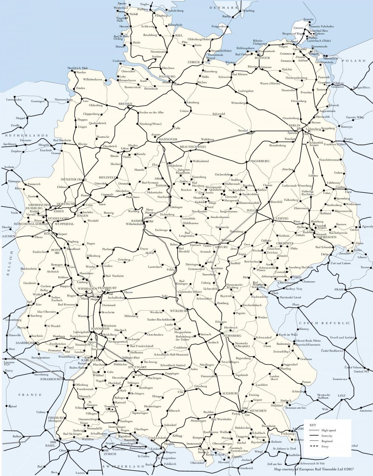 tog i europa kart Tyskland tog kart   Kart over Tyskland tog ruter (Vest Europa  tog i europa kart