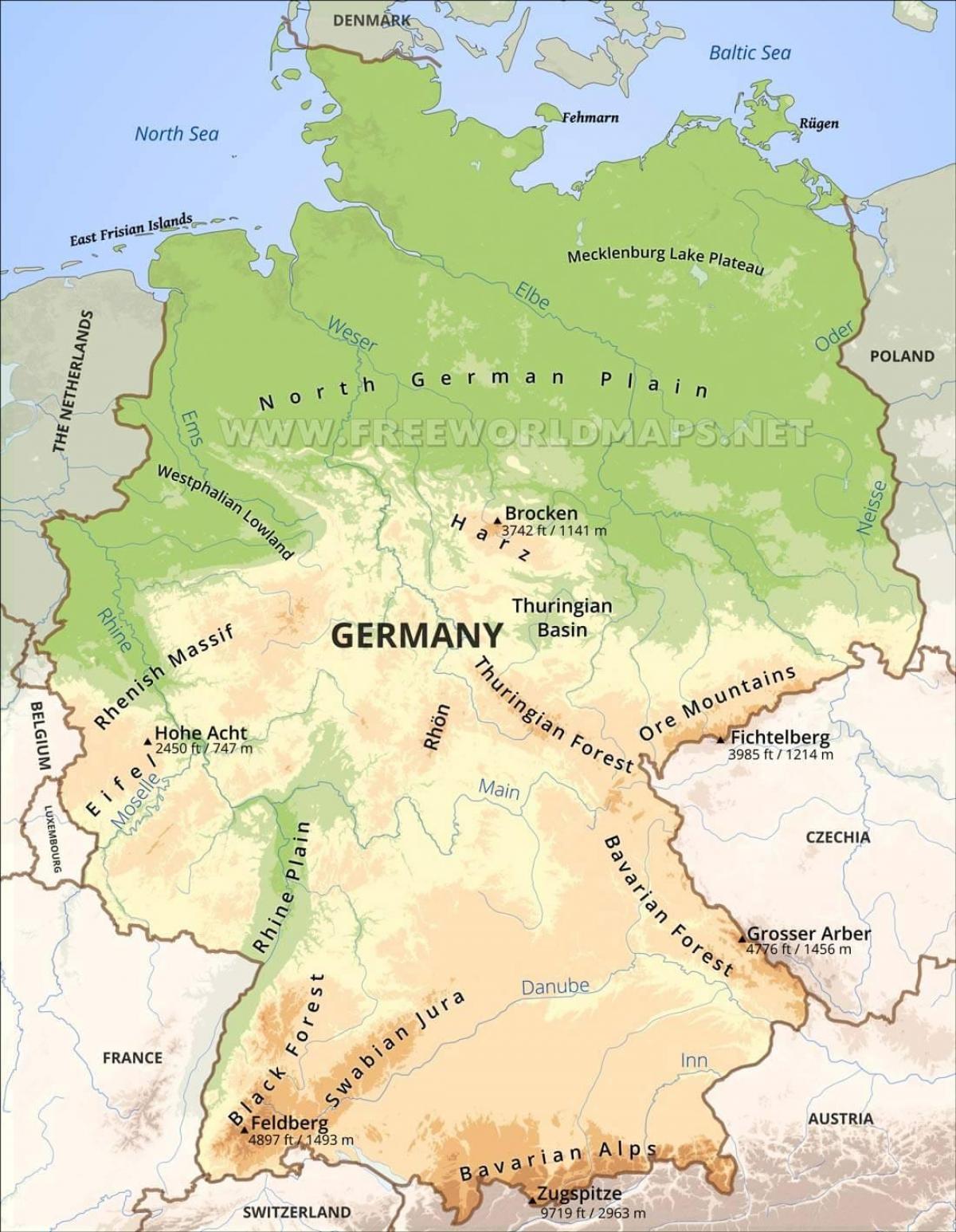 topografisk kart europa Tyskland topografiske kart   topografisk Kart over Tyskland (Vest  topografisk kart europa